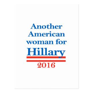 Mujer americana para Hillary Clinton Tarjetas Postales