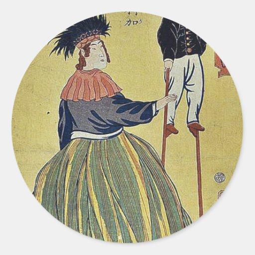 Mujer americana por Utagawa, Yoshitora Pegatina Redonda