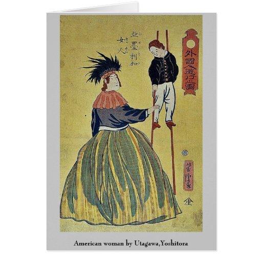 Mujer americana por Utagawa, Yoshitora Felicitacion