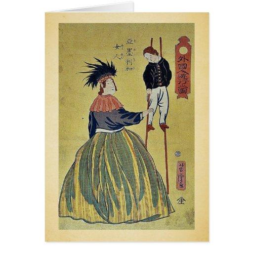 Mujer americana por Utagawa, Yoshitora Felicitaciones