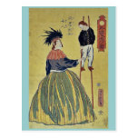 Mujer americana por Utagawa, Yoshitora Tarjeta Postal