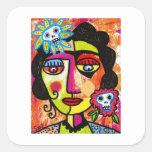 Mujer Amethyst del mexicano del cráneo del azúcar Colcomanias Cuadradases