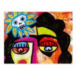 Mujer Amethyst del mexicano del cráneo del azúcar Postal