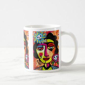 Mujer Amethyst del mexicano del cráneo del azúcar Taza Básica Blanca