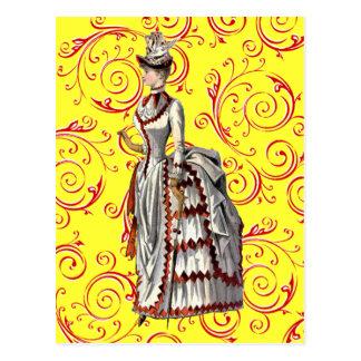 Mujer apresurada vintage postal