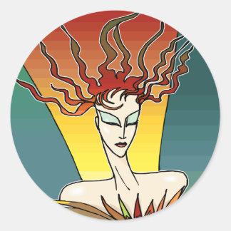 Mujer ardiente del pájaro pegatina redonda