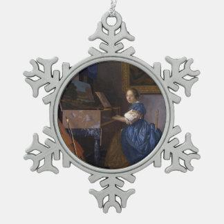 Mujer asentada en un Virginal por Vermeer Adorno De Peltre En Forma De Copo De Nieve