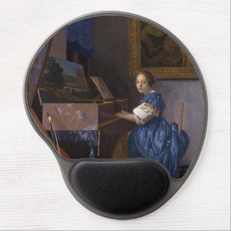 Mujer asentada en un Virginal por Vermeer Alfombrillas De Ratón Con Gel