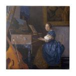 Mujer asentada en un Virginal por Vermeer Azulejos Ceramicos