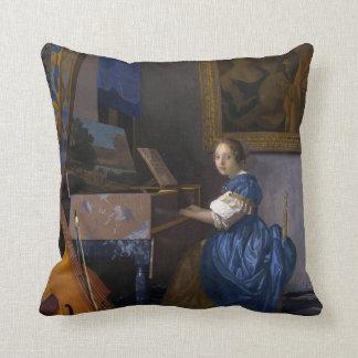 Mujer asentada en un Virginal por Vermeer Almohadas