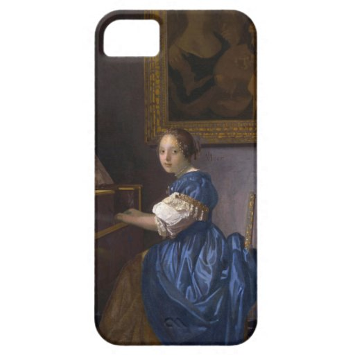 Mujer asentada en un Virginal por Vermeer iPhone 5 Case-Mate Cárcasas
