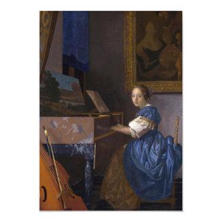Mujer asentada en un Virginal por Vermeer Invitacion Personal