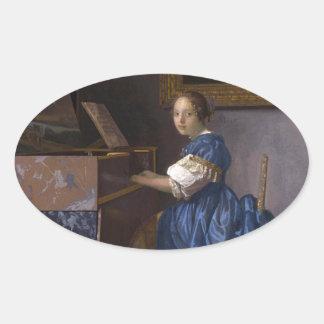 Mujer asentada en un Virginal por Vermeer Pegatina Ovalada