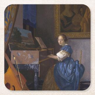 Mujer asentada en un Virginal por Vermeer Posavasos Personalizable Cuadrado