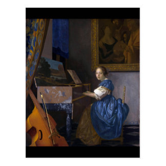 Mujer asentada en un Virginal por Vermeer Tarjeta Postal