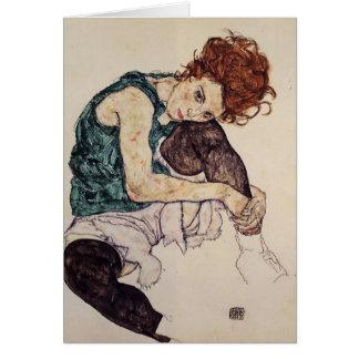 Mujer asentada Schiele- de Egon con la rodilla dob Tarjeta De Felicitación
