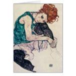 Mujer asentada Schiele de Egon Tarjeta