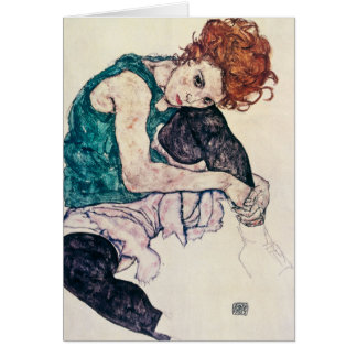 Mujer asentada Schiele de Egon Tarjeta Pequeña