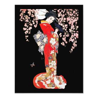 """Mujer asiática con noche de la flor de cerezo invitación 4.25"""" x 5.5"""""""