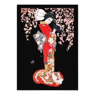 """Mujer asiática con noche de la flor de cerezo invitación 5"""" x 7"""""""