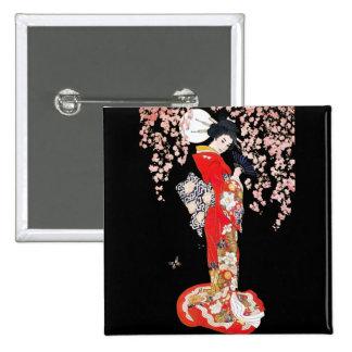 Mujer asiática con noche de la flor de cerezo pins