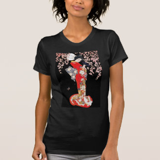 Mujer asiática con noche de la flor de cerezo camiseta
