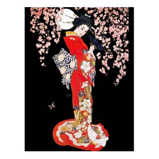 Mujer asiática con noche de la flor de cerezo tarjeta postal
