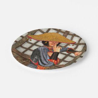 Mujer asiática de la batalla plato de papel de 7 pulgadas