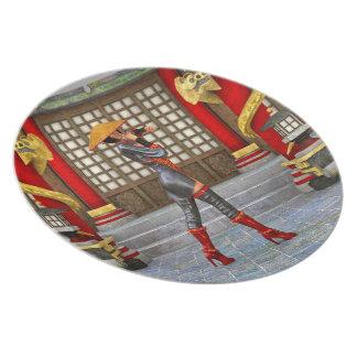Mujer asiática de la batalla plato para fiesta