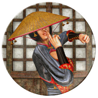 Mujer asiática de la batalla platos de cerámica