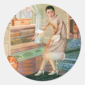 Mujer asiática del anuncio del kitsch del vintage pegatina redonda