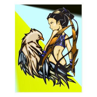 Mujer asiática y Eagle del guerrero Tarjetas Postales