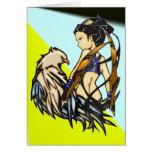 Mujer asiática y Eagle del guerrero Tarjeton