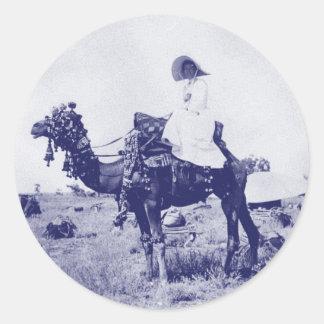 Mujer australiana circa 1880 pegatina redonda