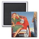 Mujer auto del vintage del anuncio retro del kitsc iman