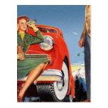 Mujer auto del vintage del anuncio retro del kitsc postales