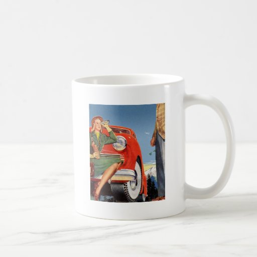 Mujer auto del vintage del anuncio retro del kitsc taza de café