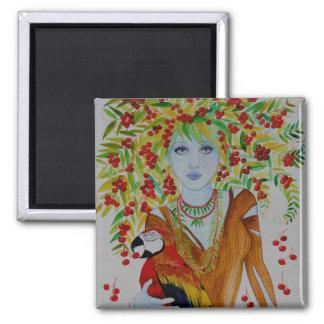 Mujer azul del cerezo imán de frigorífico
