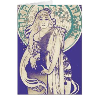 Mujer Bernhardt del teatro de Nouveau del arte de Tarjeta Pequeña