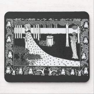 Mujer blanco y negro de Nouveau del arte de Beards Tapete De Ratón