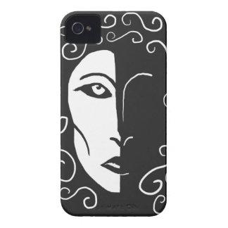Mujer blanco y negro en el caso de Blackberry de iPhone 4 Case-Mate Coberturas