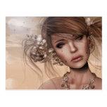 Mujer bonita con perforaciones postal