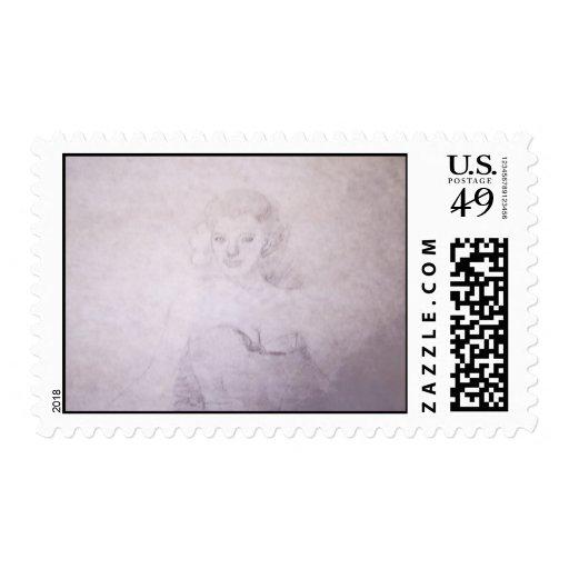 Mujer bonita sellos postales