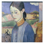 Mujer bretona joven, 1889 (aceite en lona) teja