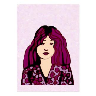 Mujer cabelluda púrpura plantillas de tarjetas de visita