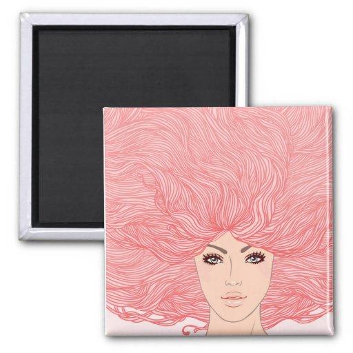 Mujer cabelluda rosada grande imán de frigorifico