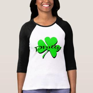 Mujer cabida 3 4 raglán del trébol de Philly de la Camisetas