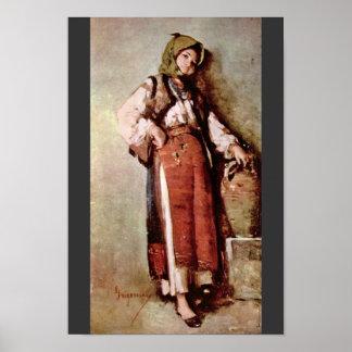 Mujer campesina con el jarro de Grigorescu Nicolae Póster