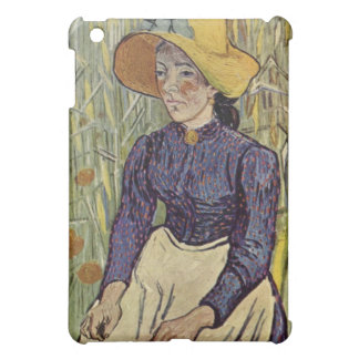 Mujer campesina contra el fondo del trigo Van Gogh