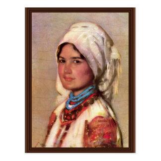 Mujer campesina de Muscel de Grigorescu Nicolae Postal